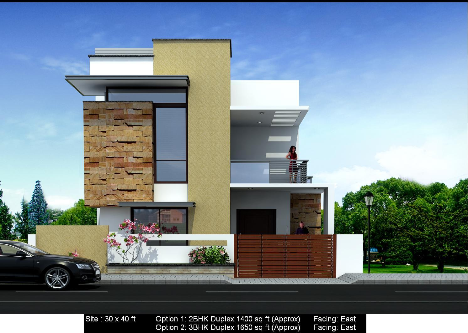Front elevation of east facing house in india joy studio for House elevation models